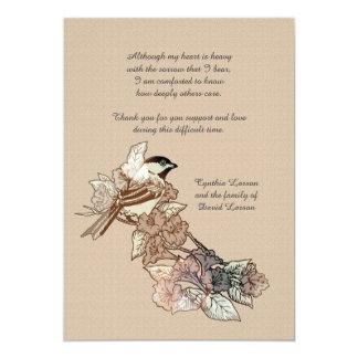 Obrigado solitário do falecimento do pássaro você convite 12.7 x 17.78cm
