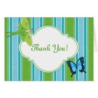 Obrigado traça e borboleta de Luna do cartão de