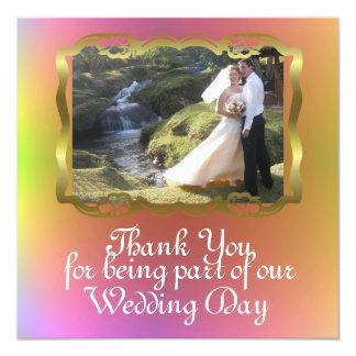 Obrigado tropical do casamento de praia da ilha do convite quadrado 13.35 x 13.35cm
