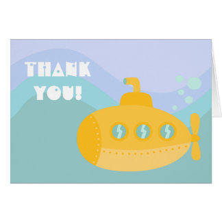Obrigado - Underwater submarino amarelo adorável Cartão De Nota