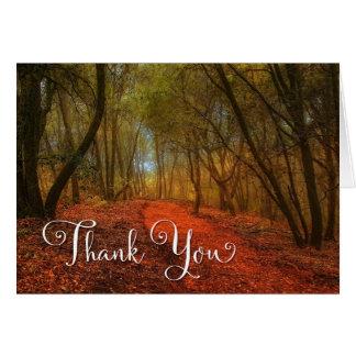 Obrigado vazio cénico do trajeto da floresta cartão comemorativo