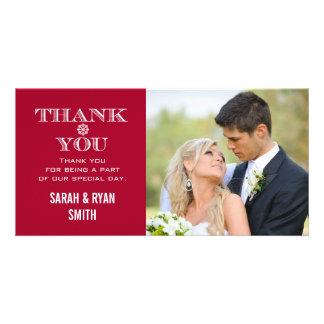 Obrigado vermelho da foto do casamento do floco de cartão com foto