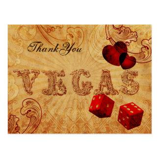 obrigado vermelho de Vegas do vintage dos dados Cartão Postal