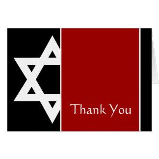 Obrigado vermelho e preto de Mitzvah do bar da Cartão De Nota