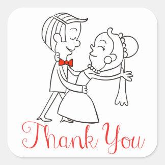 Obrigado vermelho você casamento da noiva & do adesivo quadrado