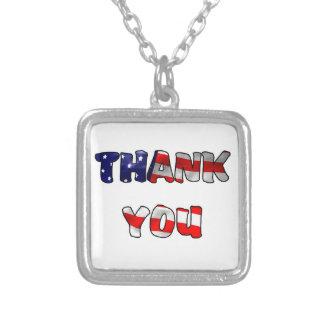 Obrigado veterano colar com pendente quadrado