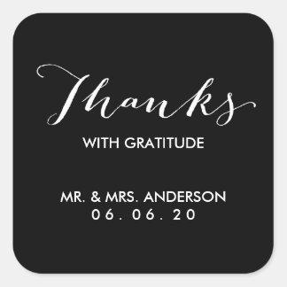 Obrigado Wedding da caligrafia | dos obrigados Adesivo Quadrado