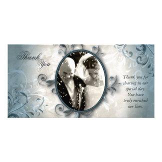Cartão Obrigado Wedding você cartão com fotos - folha do