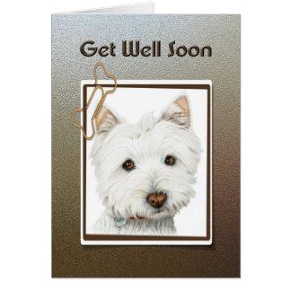obtenha o poço logo, cartão bonito do cão do