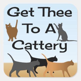 Obtenha Thee a uma etiqueta do quadrado do Cattery