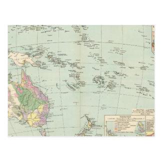 Oceanien - mapa do atlas de Oceania Cartão Postal