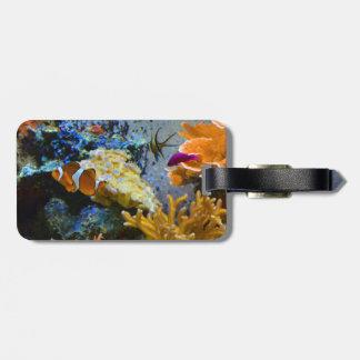 oceano do coral dos peixes do recife etiqueta de bagagem