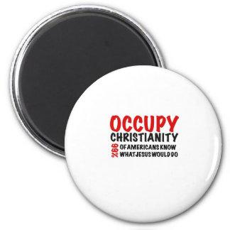Ocupe a cristandade:  Que Jesus faria? Ímã Redondo 5.08cm