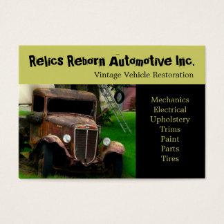 Oficina de reparações velha do caminhão do veículo cartão de visitas