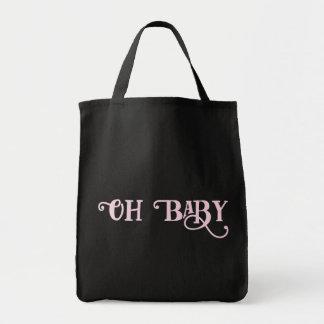 Oh menina feminino cor-de-rosa personalizada bebê bolsa tote
