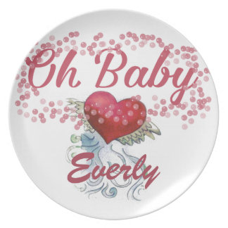 Oh menina feminino cor-de-rosa personalizada bebê louça de jantar