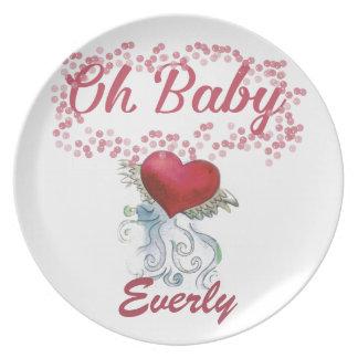 Oh menina feminino cor-de-rosa personalizada bebê prato