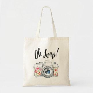 Oh pressão, ilustração da câmera da aguarela bolsa tote