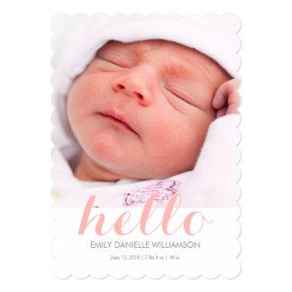 Olá! anúncio do nascimento do bebé convite personalizados