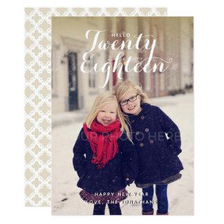 Olá! cartão com fotos do ano vinte dezoito novo