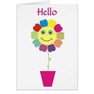 Olá! cartão feliz do girassol da cara do smiley