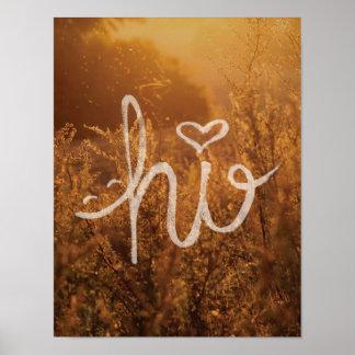 Olá! sorriso e foto da tipografia do coração poster