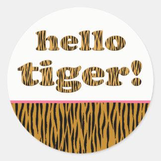Olá! tigre!  etiquetas redondas de Tigerprint do