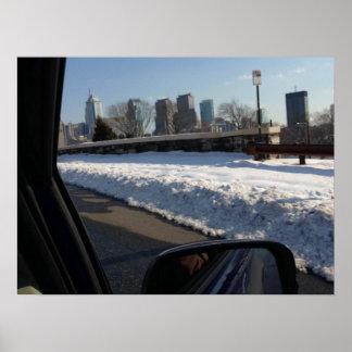 Olhando Philadelphfia através de uma janela de car Poster