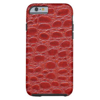 Olhar de couro vermelho do crocodilo capa tough para iPhone 6
