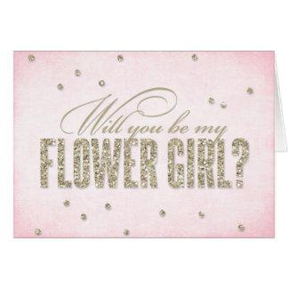 Olhar do brilho você será meu florista? Cartão