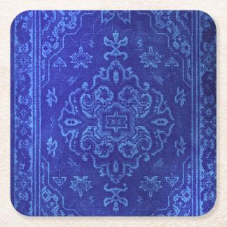 Olhar do tapete persa no azul porta-copo de papel quadrado