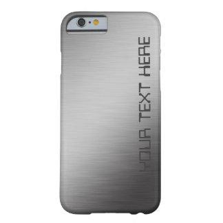 Olhar escovado personalizado falso do metal capa barely there para iPhone 6