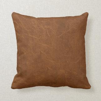 Olhar natural do couro de Brown Almofada