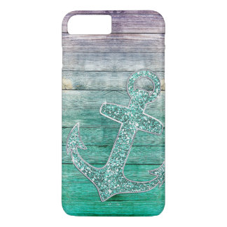Olhar roxo náutico feminino da âncora & da madeira capa iPhone 7 plus