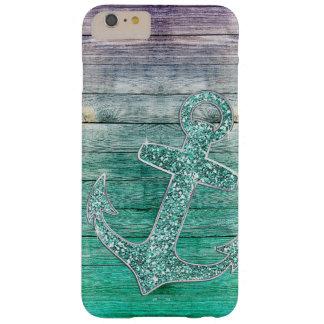 Olhar roxo náutico feminino da âncora & da madeira capas iPhone 6 plus barely there