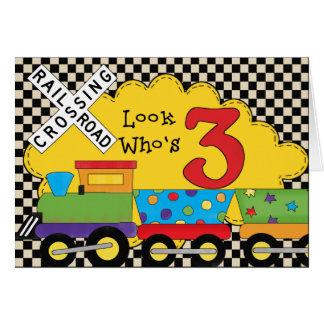 Olhe quem é 3 cartões do trem do aniversário