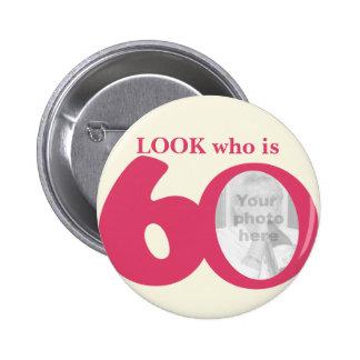 Olhe quem é botão/crachá do creme do rosa do diver bóton redondo 5.08cm