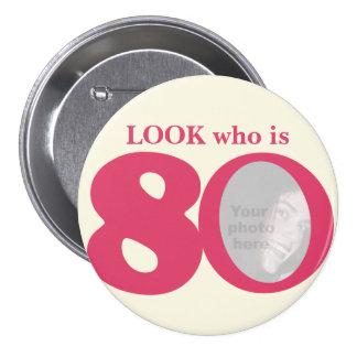 Olhe quem é botão/crachá do creme do rosa do diver bóton redondo 7.62cm