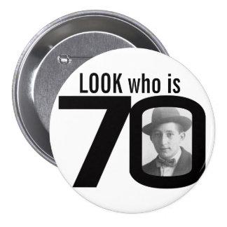 Olhe quem é botão preto e branco/crachá de 70 foto bóton redondo 7.62cm