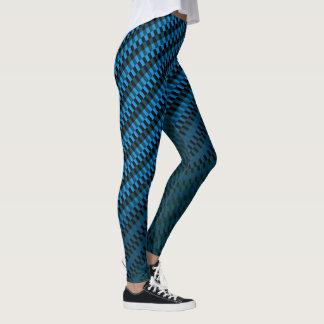 Ombre preto e azul do teste padrão geométrico dos leggings