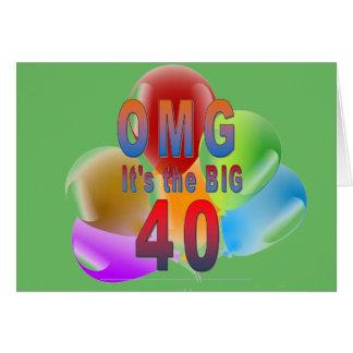 OMG 40 grandes o feliz aniversario Cartão Comemorativo