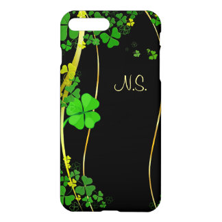 Onda afortunada verde do brilho do falso do preto capa iPhone 8 plus/ 7 plus