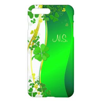 Onda afortunada verde do brilho do falso do trevo capa iPhone 8 plus/ 7 plus
