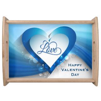 """Onda azul do coração do dia dos namorados - """"amor bandejas"""