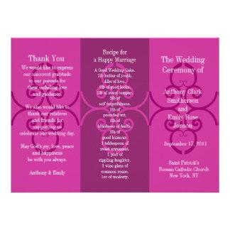 Onda do rosa do folheto do programa do casamento convites personalizados