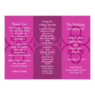 Onda do rosa do folheto do programa do casamento convite 16.51 x 22.22cm