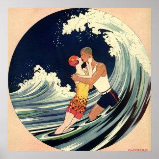 Onda romântica da praia do beijo do amor do art de pôsteres