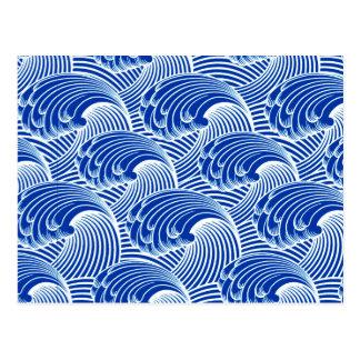 Ondas, azuis cobaltos e branco japoneses do cartão postal