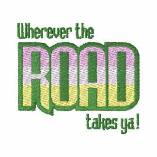 Onde quer que a estrada toma Ya! Camiseta Bordada Polo