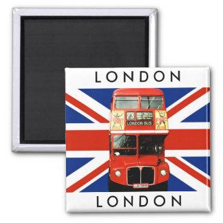 Ônibus da imã de geladeira W. Londres e bandeira b